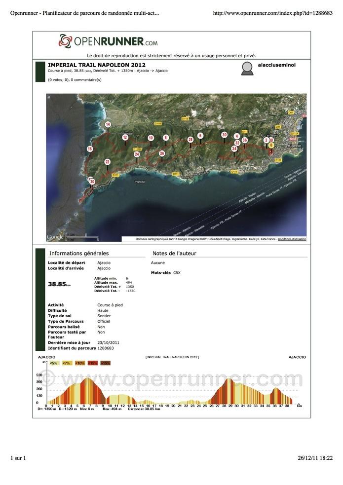 IMPERIAL TRAIL 2012 : LE PARCOURS