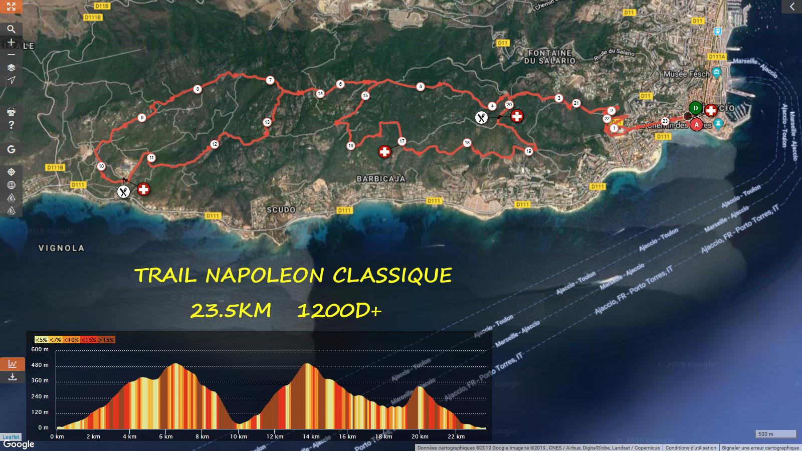 Parcours Trail Napoléon Classique (23 km) Détaillé (Maj 11/11/2016)