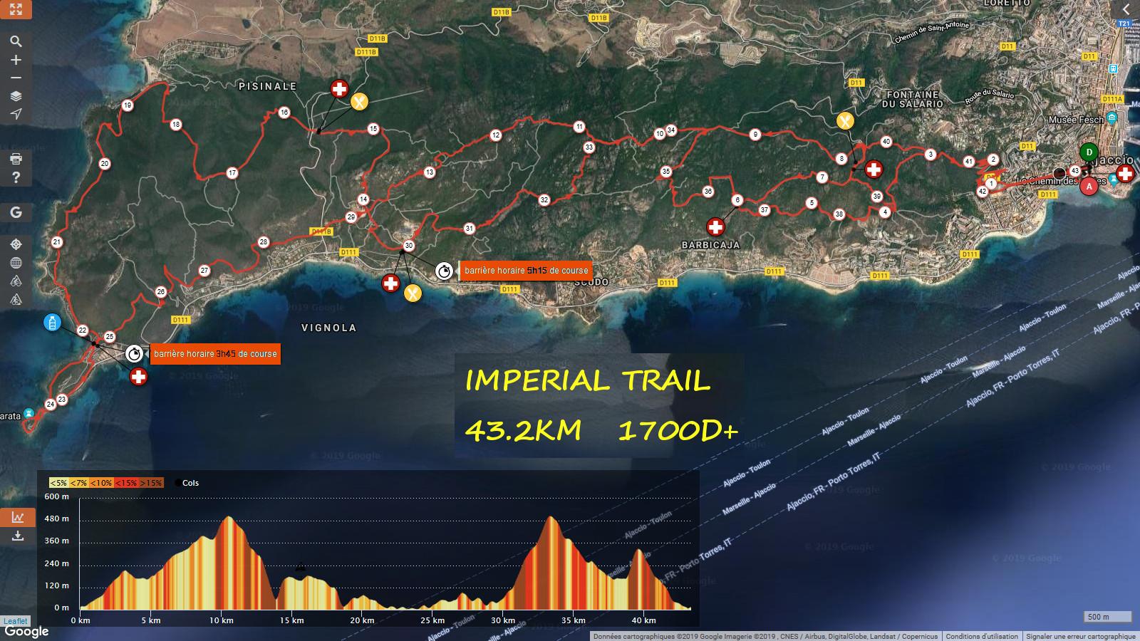 Parcours Trail Imperial (43 km) Détaillé (Maj 01/08/2018)