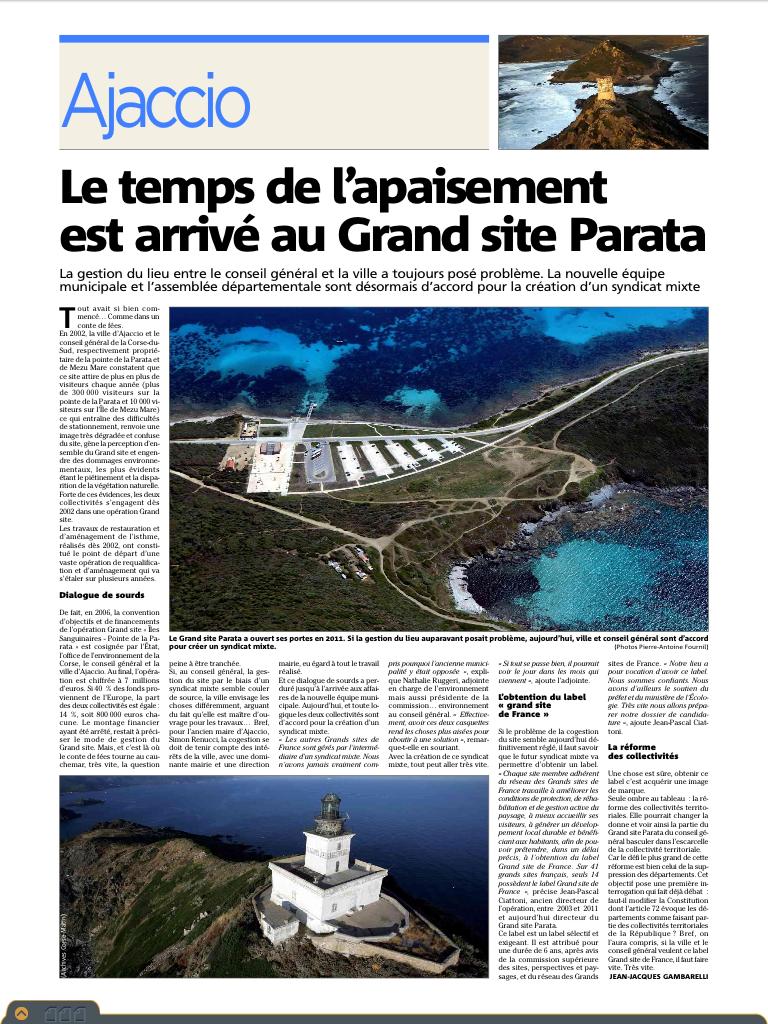 Le site de la parata sur Corse Matin (mi-course)